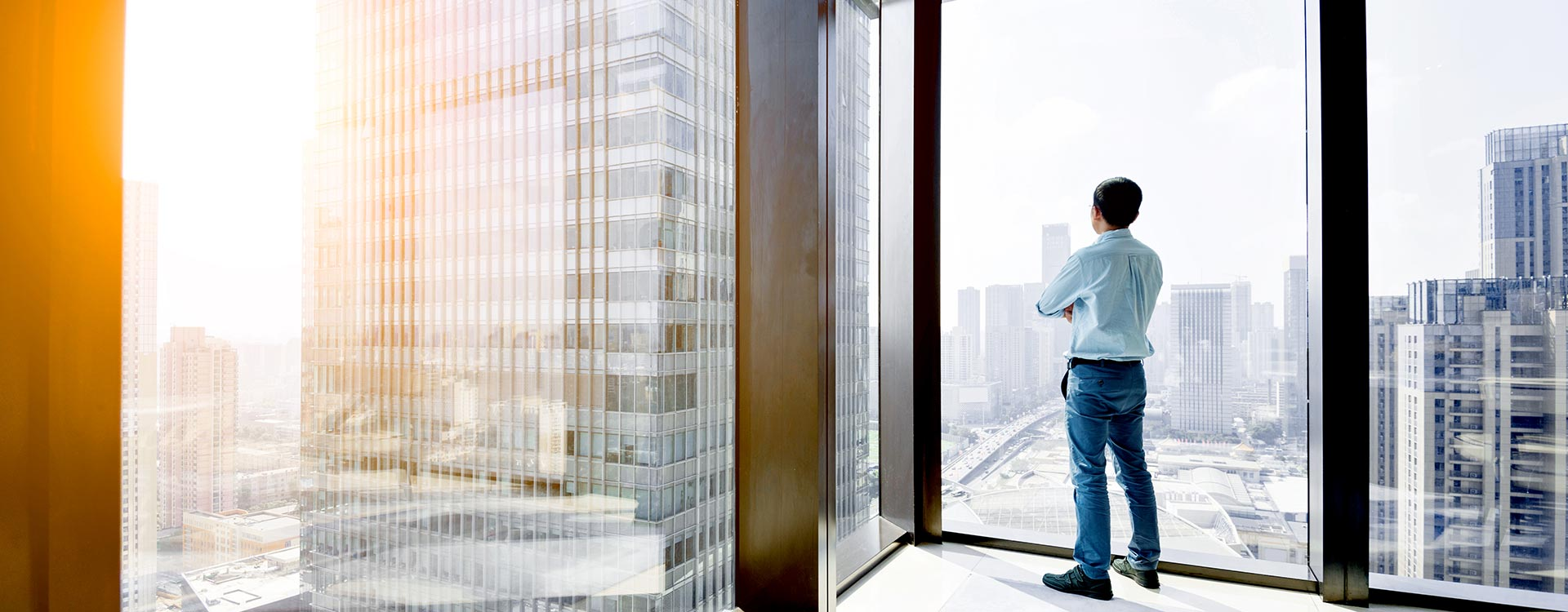 Male Professional Looking Out Office Window