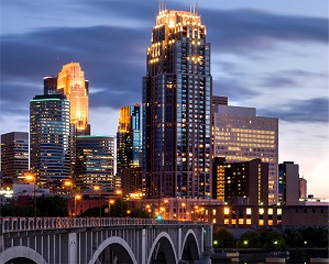 Evening view of downtown St. Paul, Minnesota