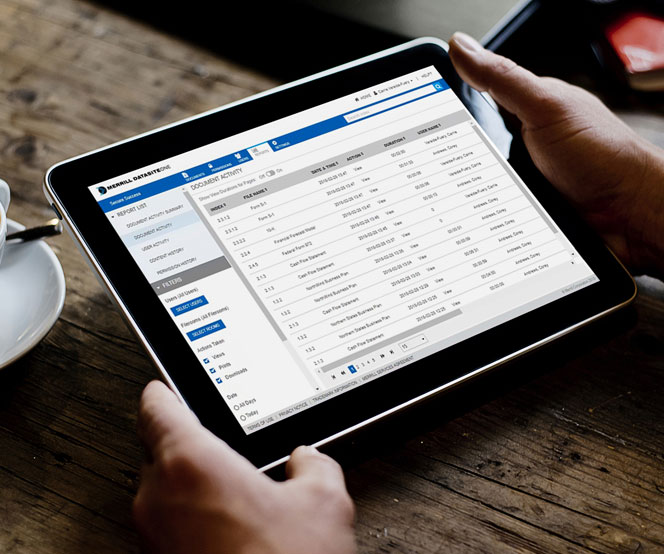 DatasiteOne due diligence app on tablet