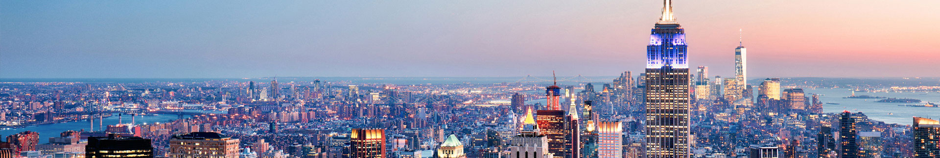 Wide evening view of downtown New York