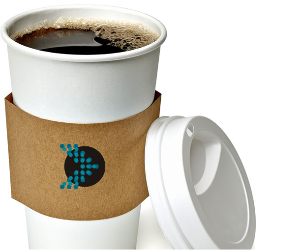 To-go coffee cup with Merrill Logo on the heat sleeve