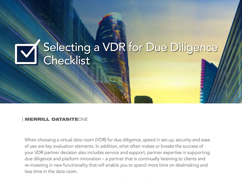 Merrill DatasiteOne - Selecting a VDR for Due Diligence Checklist