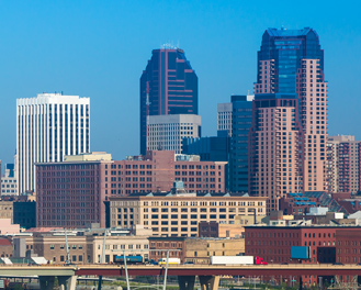 Wide view of downtown St. Paul, Minnesota