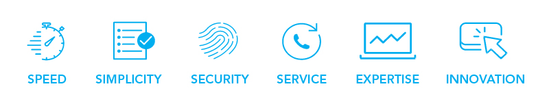 List of features with icons: speed, simplicity, security, service, expertise, and innovation