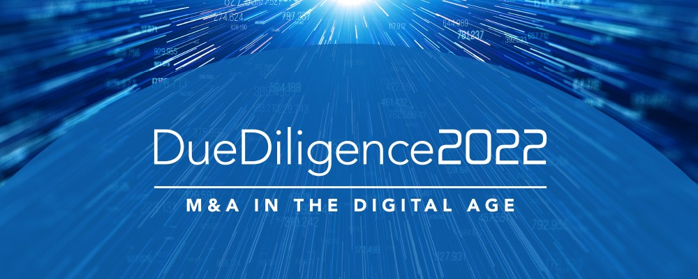 Due Diligence 2022 M&A in the Digital Age blue banner