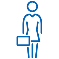 Blue businesswoman holding a briefcase icon