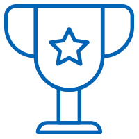 Blue trophy with a star on it icon