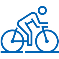 Blue man riding bicycle icon