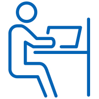 Blue man sitting at a desk working on a computer icon