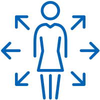 Blue woman with arrows pointing in all directions out of her icon