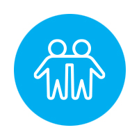 Light blue people with arms around each other's shoulders icon