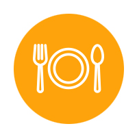 Yellow dinner plate and utensils icon