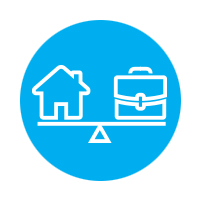 A house and briefcase icon evenly balanced on a fulcrum